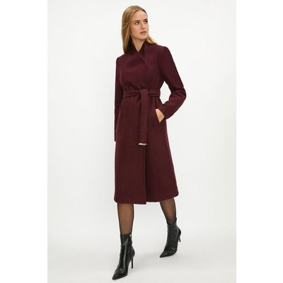Coast Wool Mix Funnel Neck Wrap Coat -, Red