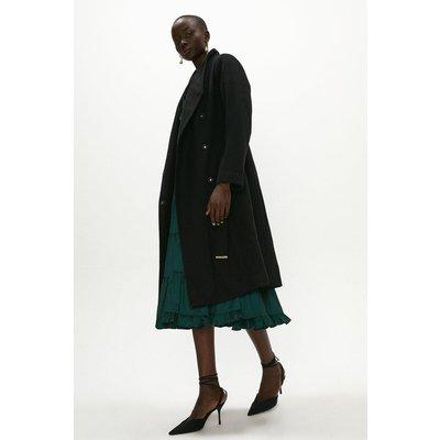 Coast Wool Mix Funnel Neck Wrap Coat -, Black