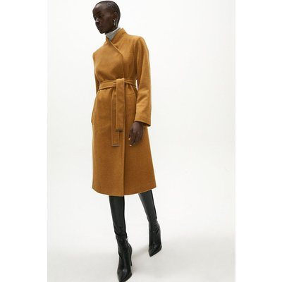 Coast Wool Mix Funnel Neck Wrap Coat -, Camel