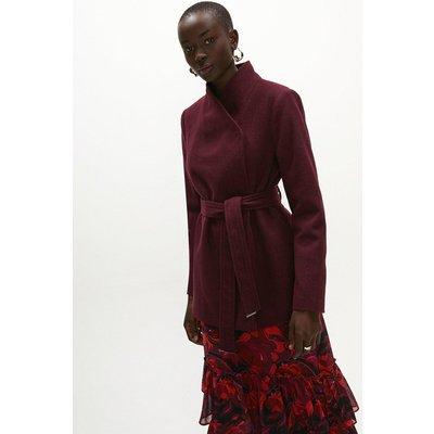 Coast Wool Mix Short Funnel Neck Wrap Coat -, Red