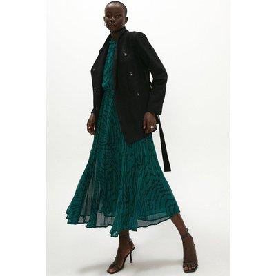 Coast Wool Mix Short Funnel Neck Wrap Coat -, Black