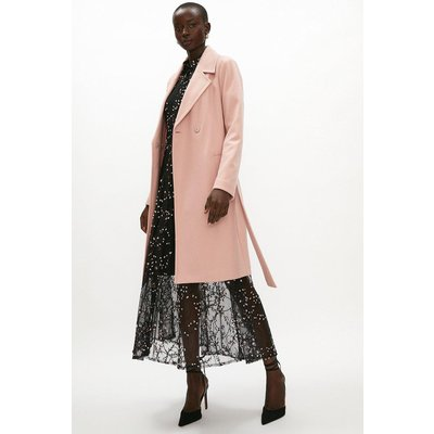 Coast Wool Mix Belted Unlined Wrap Coat -, Pink