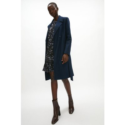 Coast Wool Mix Belted Unlined Wrap Coat -, Navy