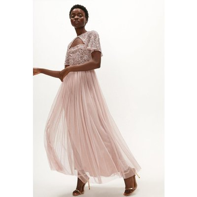 Coast Cut Out Sequin Bodice Maxi Dress -, Pink