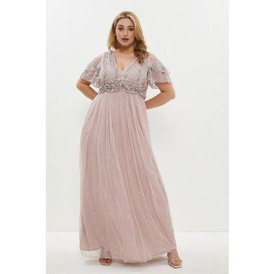Coast Curve Cold Shoulder Embellished Maxi Dress -, Pink