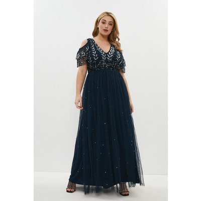 Coast Curve Cold Shoulder Embellished Maxi Dress -, Navy