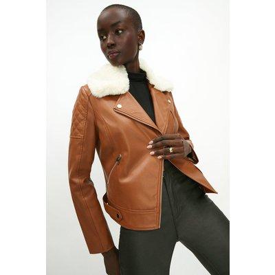 Coast Pu Detachable Fur Biker Jacket -, Tan