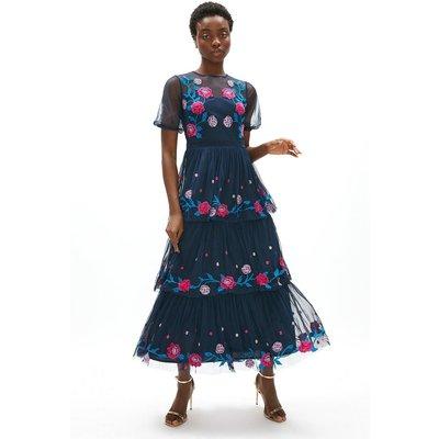Coast Puff Sleeve Embroidered Mesh Midaxi Dress -, Navy