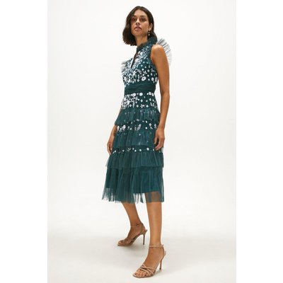 Coast Sustainable Tiered Midi Embroidered Dress -, Green