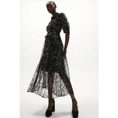 Coast Button Through Embroidered Mesh Shirt Dress -, Black