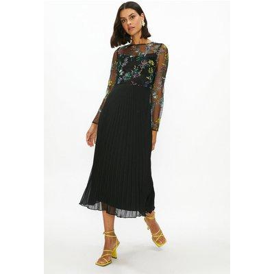 Coast Floral Mesh Pleated Skirt Dress -, Black