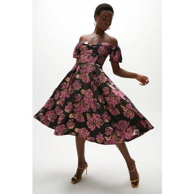 Coast Puff Sleeve Midi Dress -, Pink