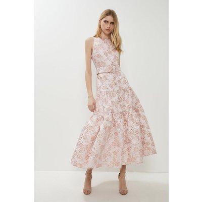 Coast Premium Jacquard Tiered Midaxi Dress - Baby, Pink