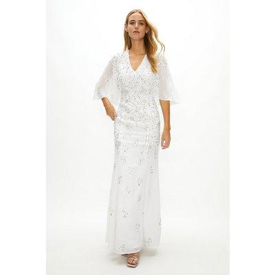 Coast Sustainable Embellished Cape Sleeve Dress -, White