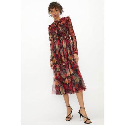 Coast High Neck Floral Long Sleeve Midaxi Dress, Multi