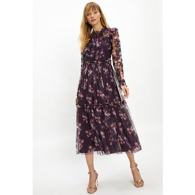 Coast High Neck Floral Long Sleeve Midaxi Dress -, Purple
