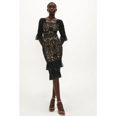 Coast Long Sleeve Tiered Lace Dress -, Black