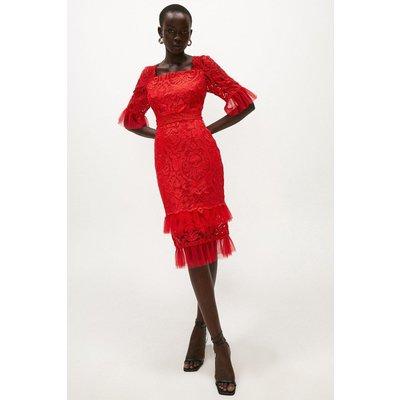 Coast Long Sleeve TieLace Dress -, Red