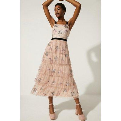 Coast Oasis Velvet Trim Embellished Tiered Maxi Dress -, Nude