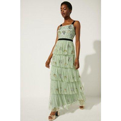 Coast Oasis Velvet Trim Embellished Tiered Maxi Dress -, Sage