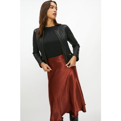 Coast Premium Leather Quilted Collarless Jacket -, Black