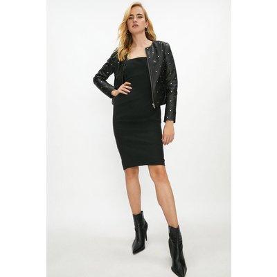 Coast Premium Leather Studded Collarless Jacket -, Black