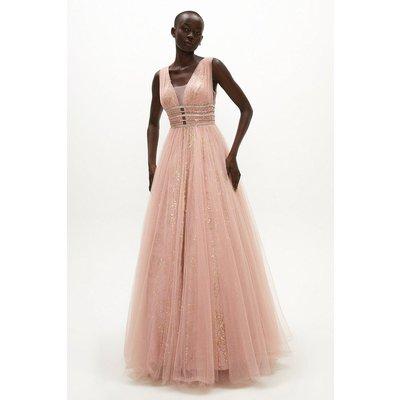 Coast V Neck Embellished Waist Dress -, Pink