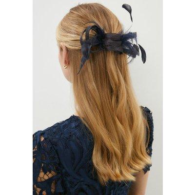 Coast Premium Bow Feather Detail Fascinator -, Navy