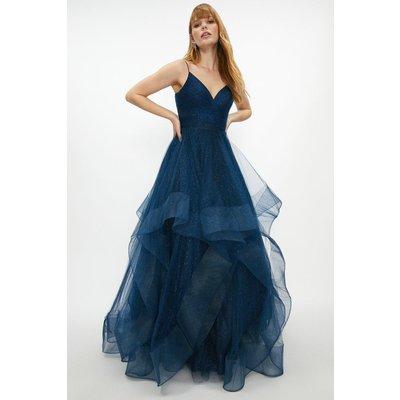 Coast Premium Metallic Tulle Gown -, Navy