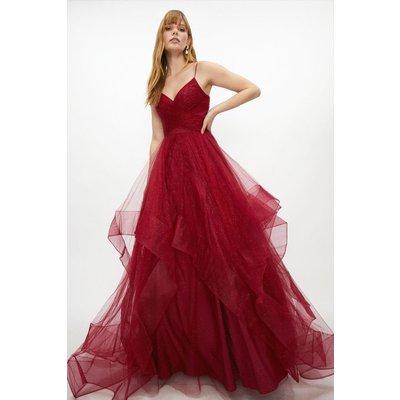 Coast Premium Metallic Tulle Gown -, Red