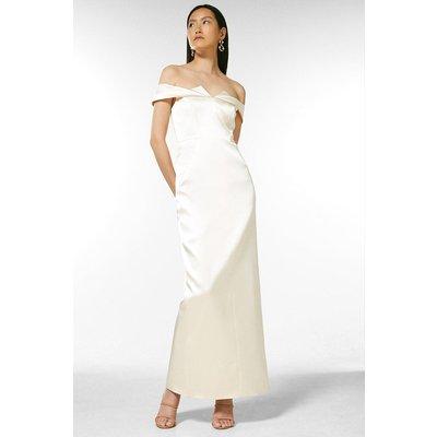 Coast Karen Millen Italian Satin Bardot Maxi Dress -, Cream