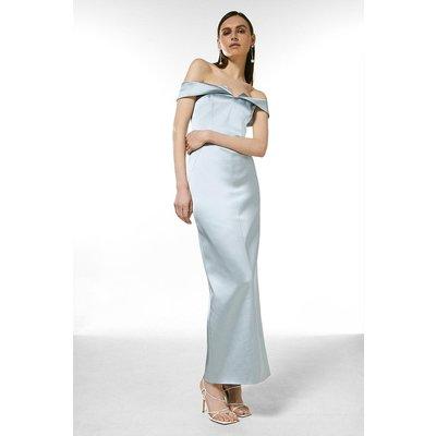 Coast Karen Millen Italian Satin Bardot Maxi Dress -, Silver