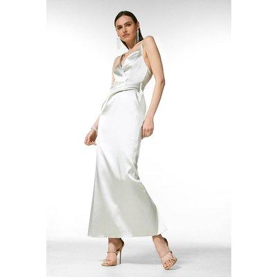 Coast Karen Millen Italian Satin Strappy Maxi Dress -, Sage