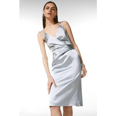 Coast Karen Millen Italian Satin Strappy Pencil Dress -, Silver