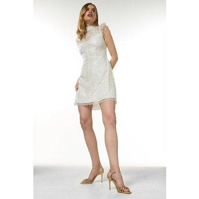 Coast Karen Millen Guipure Lace Embroidered Short Dress -, Ivory