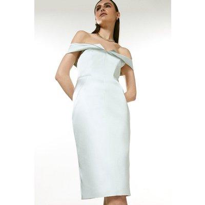 Coast Karen Millen Italian Structured Satin Bardot Dress -, Sage