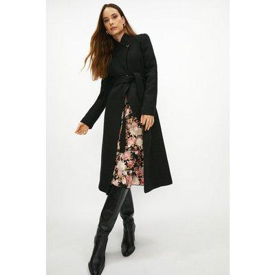 Coast Long Belted Wrap Coat -, Black