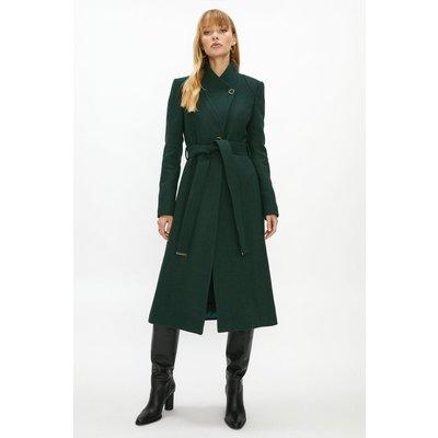 Coast Long Belted Wrap Coat -, Green