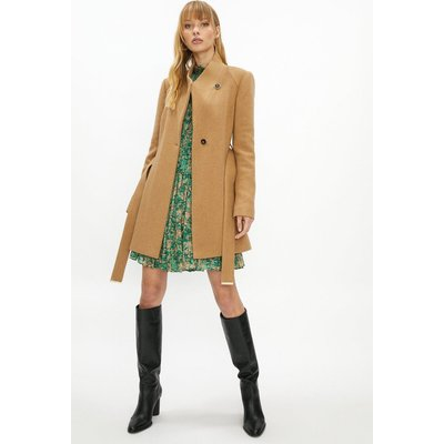 Coast Short Belted Wrap Coat -, Camel