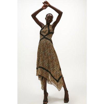 Coast Print Lace Trim Midi Dress -, Animal