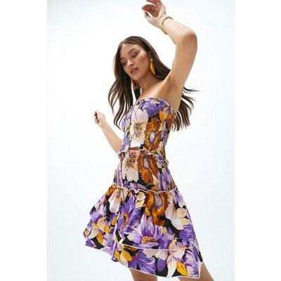 Coast Printed Shirred Top And Skirt Co-ord -, Purple