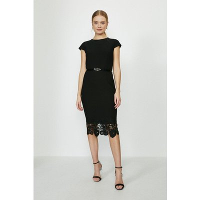 Coast Crepe And Lace Shift Dress -, Black