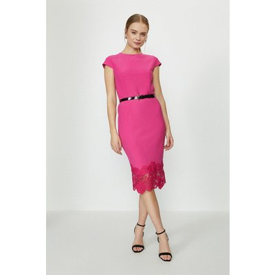 Coast Crepe And Lace Shift Dress -, Pink