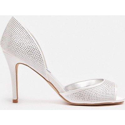Coast Diamante Peep Toe Court Shoe -, White