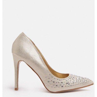 Coast Diamante Embellished Metallic Court Shoe -, Gold