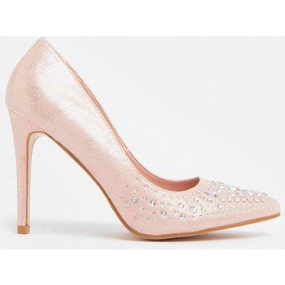 Coast Diamante Embellished Metallic Court Shoe -, Pink