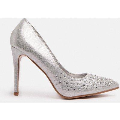 Coast Diamante Embellished Metallic Court Shoe -, Silver