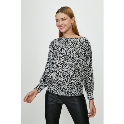 Coast Animal Print Batwing Jersey Top -, Tan