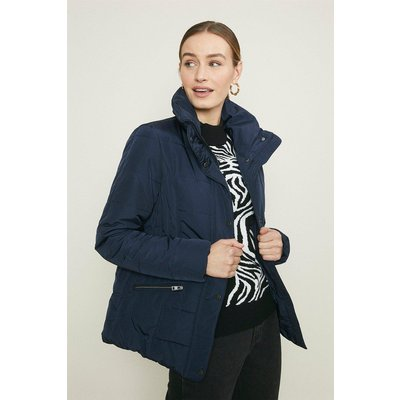 Coast Funnel Neck Quilted Jacket -, Navy