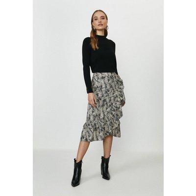 Coast Printed Ruffle Wrap Midi Skirt -, Mono